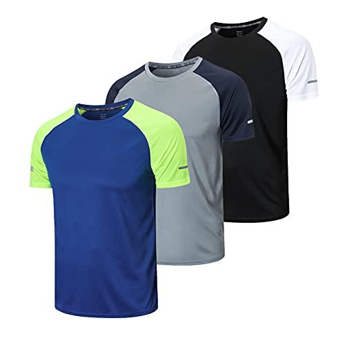frueo 3 Piezas Camisetas Manga Corta Hombre Camiseta Deporte Hombre de Secado Rápido Ropa Running Camiseta Gimnasio Hombre(20086) Black Gray Blue-XL