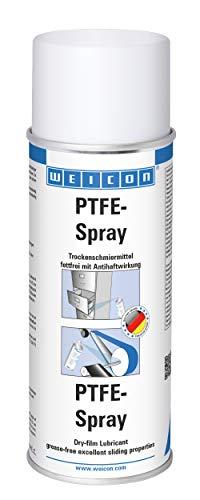 WEICON 11300400 PFTE-Spray 400 ml Lubricante seco Resistente al Calor con Efecto Antiadherente, Blanco