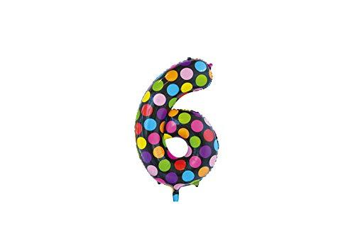 Folie ballon cijfer 6 in het zwart met gekleurde stippen 86 cm