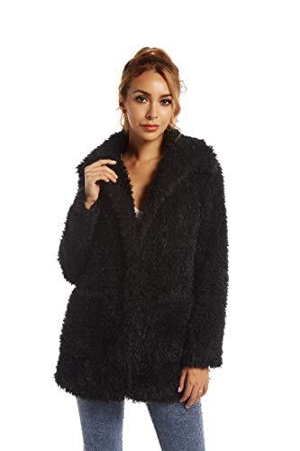 Elegant Faux Fur Coat Women 2021 Autumn Winter Warm Open Front Jacket Cardigan Overcoat Casual Outerwear L