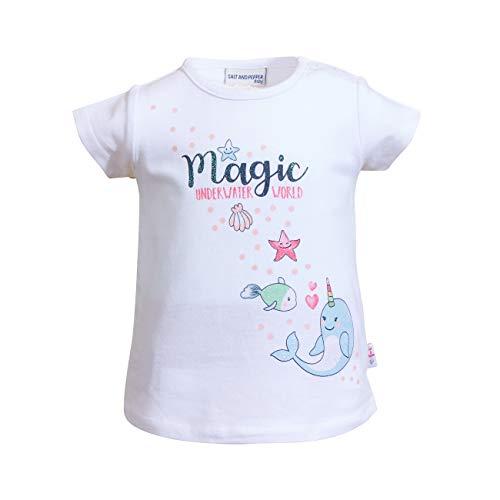 SALT AND PEPPER Baby-Mädchen Seaside Uni Glitterpr. T-Shirt, White, 92