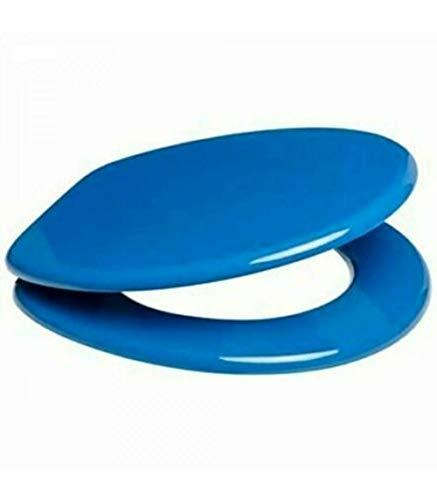 Vetrineinrete® Copriwater universale in legno MDF tavoletta da bagno wc con cerniere in acciaio blu X31