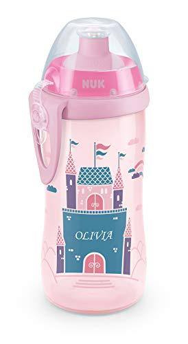 NUK Junior Cup mit persönlicher Gravur, mit Push-Pull-Tülle, auslaufsicher, BPA frei, ab 36 Monaten, 300ml, rosa