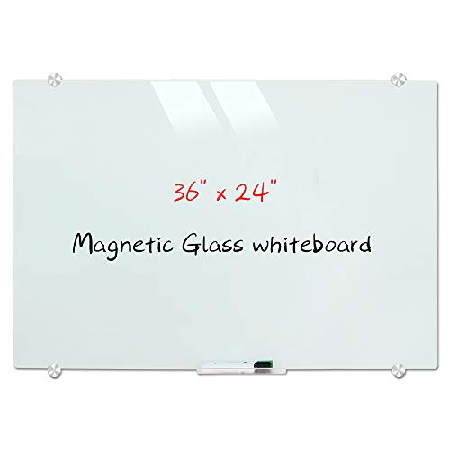 Magnetic Glass Whiteboard, Wall Mounted Glass Dry Erase White Board, Frosted White Surface, Frameless Glass Board with 4 markers, 2 Magnets, 1 Eraser, 36 x 24 Inch (90 x 60 cm)