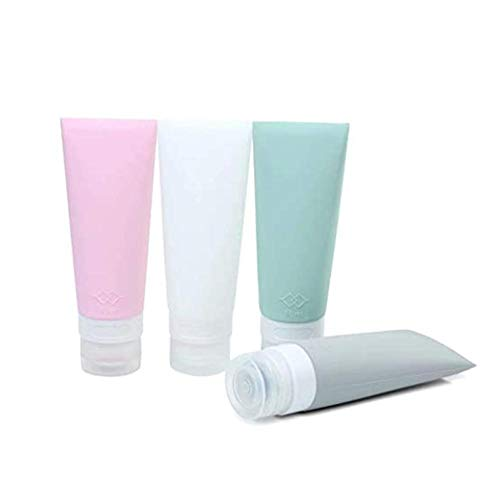 Beeria 4 Pcs Silicone Travel Bottle 80ML Leak-Proof BPA Free Bottles for Shampoo, Toiletries, Lotion Conditioner Shower Gel Solar Oil Cream with PVC B