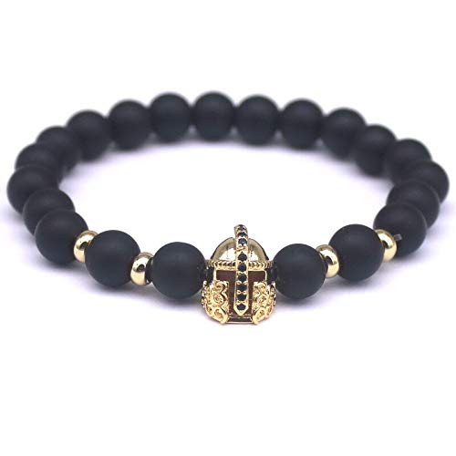 JINGGEGE Jengijo Top Fashion Black Natural Stone Charm Pulseras Mujeres Imperial Crown Braiding Marca Macrame Beads Pulseras (Metal Color : Antique Bronze Plated)