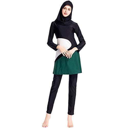 Lazzboy Frauen Muslimischen Badeanzug Mit Kappe Volltonfarbe Beachwear Bademode Muslim Zurückhaltenden Bescheidenheit Jumpsuit Hijab Full-Cover Islamischen Badeanzüge(Schwarz,L)