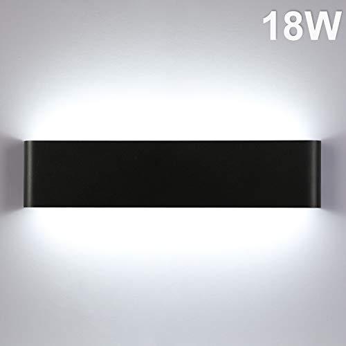 Lightess 18W 40CM Apliques de Pared LED Lámpara de Pared Interior Luz Moderna Agradable Luz de Aluminio Iluminación para Salón, Dormitorio, Sala, Pasillo, Escalera, Negro, 6000K Blanco Frío