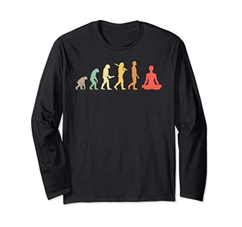 Retro Yoga Evolution Geschenk für Yogis & Yoga Liebhaber Langarmshirt