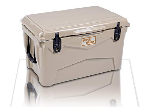 SuperHandy Ice Chest Rotomolded Enhanced Cooler 45QT Keeps Ice Up to 5 Days Commercial Grade Food Safe Dry Ice Compatible UV Protection Gasket Bottle Opener for BBQs, Tailgating & Outdoor Activities