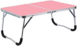 LUZAISHENG Rubber Mat Adjustable Portable Laptop Table Folding Stand Computer Reading Desk Bed Tray (Color : Pink)