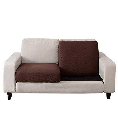 C/N Funda de cojín Asiento para sofá elástica 2 plazas Fundas para sofá Cojines Cubre Sofa Cojines de Asiento Protectora para sofá Fundas de Sillón Asientos marrón