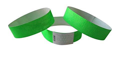ID-ACC. 100 Stück Tyvek-Eintrittsbänder 19 mm breit x 255 mm lang - neongrün