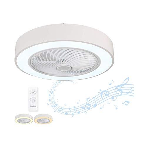 Bastilipo Sintra-Ventilador de Techo con luz Mando a Distancia-3 Colores LED-Audio Bluetooth-Gama Luxury, Blanco, Diametro Total 60 cm