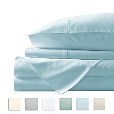 """Pizuna 400 Thread Count King Sheets Cotton Light Blue, 100% Long Staple Combed Cotton Sheets, Cotton Sateen Sheets Cotton fit Upto 17"""" Deep Pockets (Baby Blue 100% Cotton Sheets King)"""
