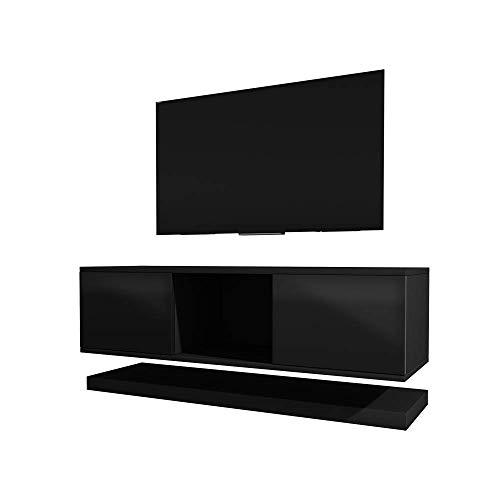 Selsey WIZZ - TV-Lowboard 2-teilig stehend/hängend schwarz matt/schwarz Hochglanz, 140 cm