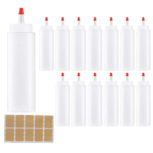 Squeeze Bottle,Woaiwo-q Plastic Squeeze Condiment Bottles with Red Tip Caps (14PACK.8oz)