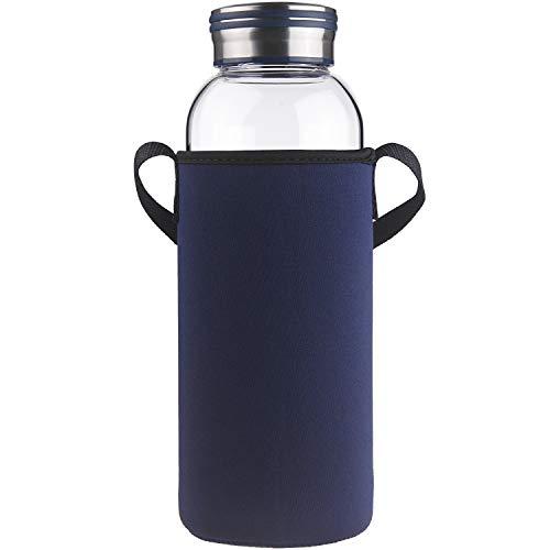 Cleesmil Botella de Agua de Cristal con Funda de Neopreno 1.5 Litro / 1.5 L(Azul)