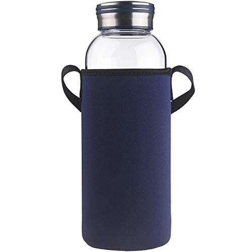 Cleesmil Trinkflasche Glas Wasserflasche mit Neoprenhülle Glasflasche 1500 ml /1.5 L (Blau)