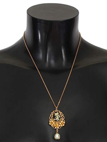Dolce & - Collar de Cristal Floral con Perlas de latón Dorado Gabbana