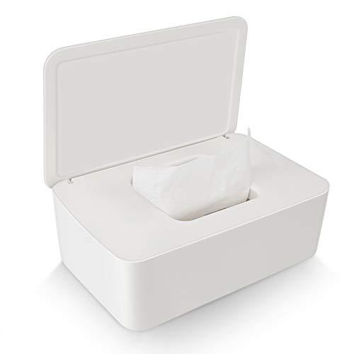 Delisouls Feuchttücher Spender, Trocken Nass Seidenpapier Schutzhülle Staubfrei Gewebe Aufbewahrung Box Hülle, Spender Halter mit Deckel für Heim (Milchig weiß)