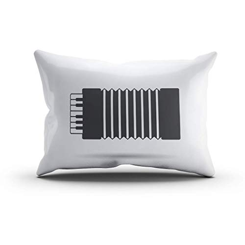 DKISEE Funda de cojín lumbar con cremallera oculta gris acordeón, funda de cojín decorativa de dos lados impresa, funda de almohada, algodón, 1 color, 20'x30'