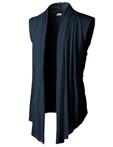 H2H Men's Shawl Collar Sleeveless Cardigan with No Button Navy US 2XL/Asia 3XL (KMOCASL01)
