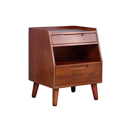 TXXM® Herstellung Nachttisch aus Massivholz Einfach und modern Einfacher kreativer Nachttisch Praktische Möbel (Color : Walnut Color)