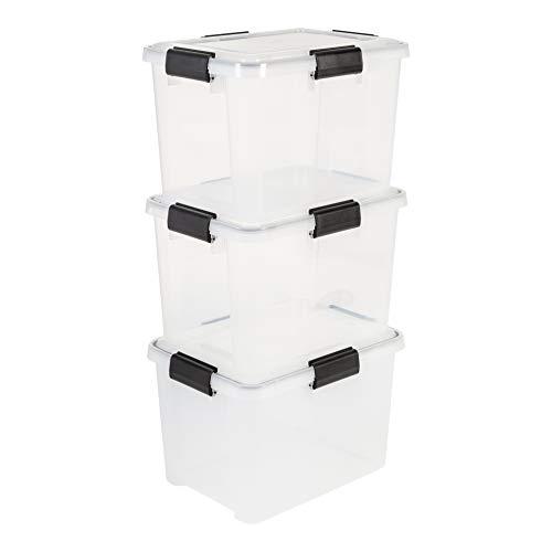 Iris Ohyama, Lot de 3 Boîtes de Rangement / Caisses de Rangement Hermétiques - Air Tight Box - AT-SD, Plastique, Transparent, 20 L, 39 x 29 x 26 cm
