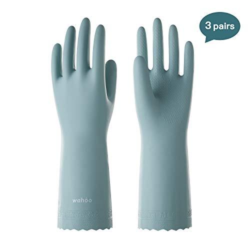LANON Wahoo Series Reusable Household Gloves Waterproof PVC Dishwashing Gloves NonSlip UltraThin Cleaning Gloves for Kitchen Unlined Intertek Listed Medium 3Pairs