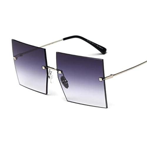 WANGZX Gafas De Sol Cuadradas Grandes Populares Gafas De Sol Retro para Mujer Gafas Transparentes Gafas Elegantes C56Silvergray