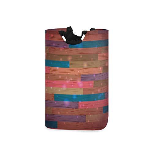 LDIYEU Colorido Arte De Madera Cesta Ropa Sucia Grande Cesto para la Colada Ronda Plegable Cubo Ropa Sucia de Tela para Guardar Almacenaje Juguetes Impermeable