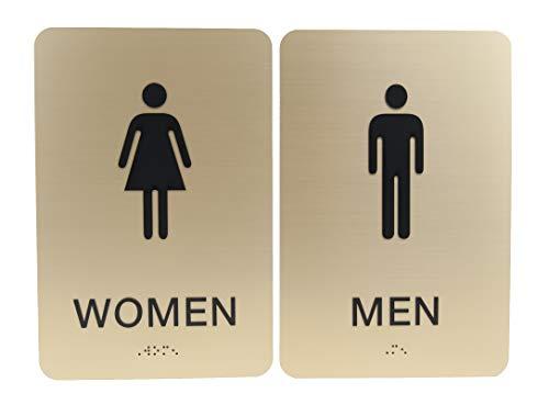 Non-Accessible/Wheelchair Men & Women ADA Restroom (Bathroom) Sign Set w/Braille - Gold