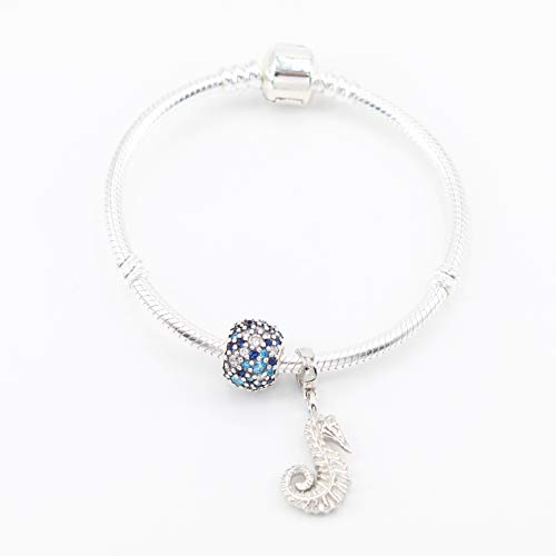 PANDACHARMS Mädchen 925 Silber Armband mit Charms 'Seepferdchen im Ozean', Länge 16cm, passt zu Pandora