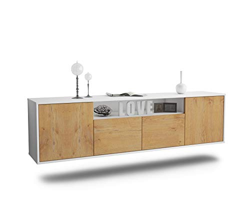 Dekati Lowboard Toledo hängend (180x49x35cm) Korpus Weiss matt | Front Holz-Design Eiche | Push-to-Open