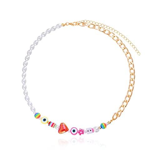 CHENLING Joven Moda Arco Iris Smiley Perlas Collares Gargantilla Para Mujeres Cadena Metal Arcilla Clavícula Collar Charm Y2K Joyería Nuevo