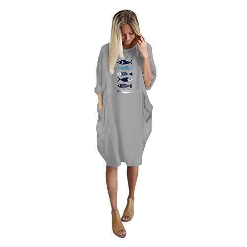 Realde-Vestiti Elegante Donna Abito Manica Lunga Girocollo Stampato Pesce Tinta Unita Vestiti con Due Tasche Sciolto Casuale Maglietta Abiti Cocktail Partito Festa Casuale