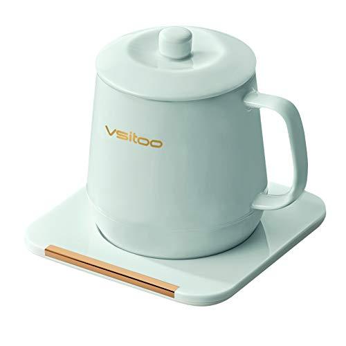 VSITOO Coffee Mug Warmer&Mug Set, App Temperature Control Smart Mug for Desk, Heated Ceramic Coffee Mug with Auto Shut Off, 12oz, IPX7-Waterproof, Funny Gift Idea