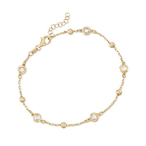 Ross-Simons Italian 1.15 ct. t.w. Bezel-Set CZ Station Anklet for Women 9 Inch in Sterling Silver or 18kt Gold Over Silver (Gold-Plated-Silver)