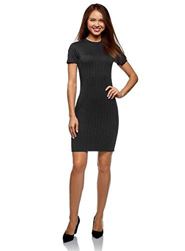 oodji Ultra Damen Enges Kleid mit Reißverschluss, Schwarz, DE 38 / EU 40 / M