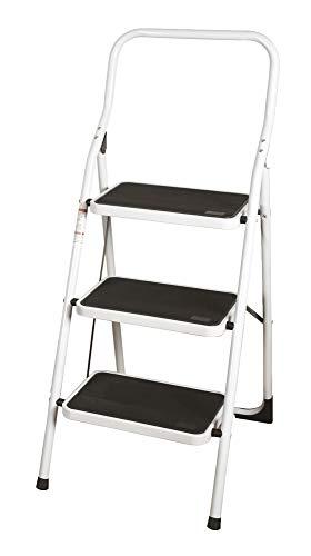 VERDELOOK Sgabello Step in Metallo 123x48x7 cm, 3 gradini, scaletta per Uso Domestico