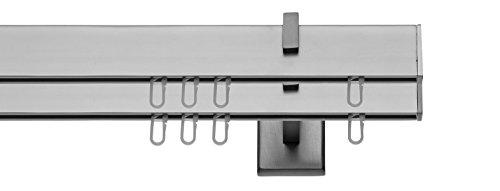 tilldekor Innenlaufsystem Gardinenstange Square-LINE kantig - Aluminium - 240 cm, 2-Lauf