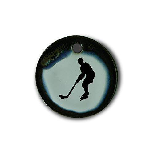 """Schöner Keramik-Anhänger """"Eishockey"""" in braun-blau-grün marmoriert; Schmuck Kette Kettenanhänger Geschenk Kunsthandwerk Keramik rund Talisman Amulett Mann"""