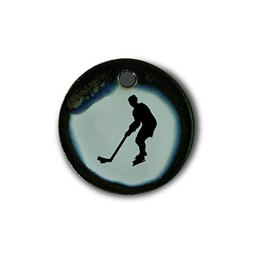 """Muy bonito colgante de cerámica """"hockey sobre hielo"""" jaspeado en marrón-azul-verde;"""