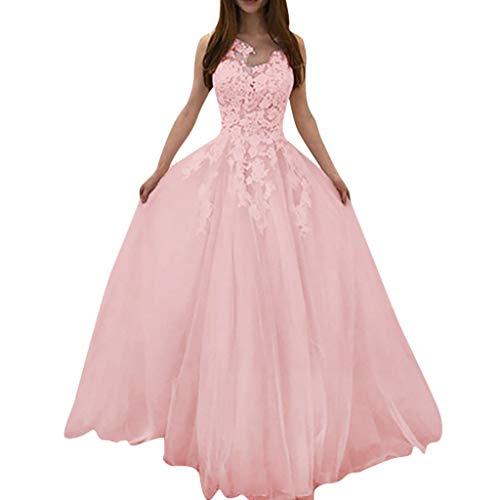 TUDUZ-Damen Spitze Tüll Abendkleid Lang Ballkleid Hochzeit Brautjungfernkleid Brautmode Ärmellos Vintage A Linie Brautkleid Abendkleider (38, Pink)