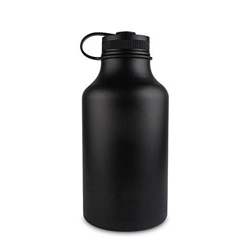 Paracity en acier inoxydable Bouteille d'eau et bière Growler col large 1 814,4 gram Capacité isotherme à double paroi pour boissons chaudes et froides avec sac de transport, noir