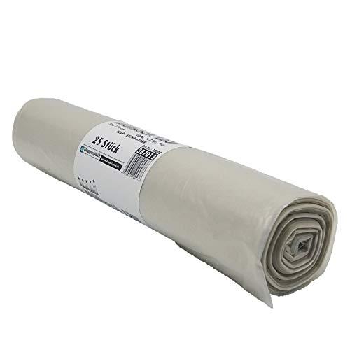 BAMI 250 Stück Müllbeutel Müllsack Abfallsack 120 Liter 70 x 110 cm, LDPE Typ60-36µ (á Rolle 1275g) EXTRA STARK - transparent