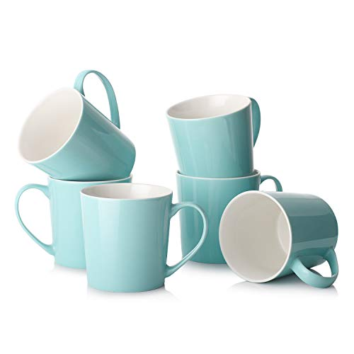 DOWAN Coffee Mugs Set, 18 OZ Large Coffee Mug Set of 6, Ceramic Mugs with Large Handle for Coffee Tea Cocoa, Dishwasher Safe, Chip-free, Lead-Free, Ideal Gift for Morning, Father's Day, Turquoise