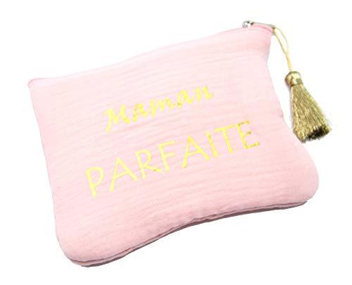 Oh My Shop ATM142 - Trousse Pochette Coton Rose Message Maman Parfaite Pompon Doré
