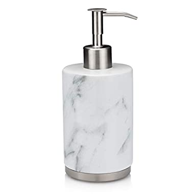 EssentraHome White Ceramic Soap Dispenser with Marble Look for Bedroom,Bathroom or Kitchen. Also Great for Hand Lotion and Essential Oils